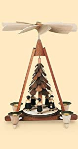German christmas pyramid Carolers, 5 figurines, 1-tier, height 30 cm / 12 inch, natural, original Erzgebirge by Mueller Seiffen by Müller Seiffen
