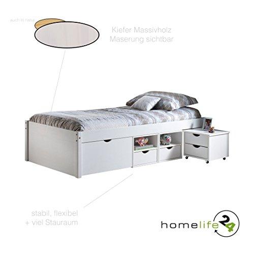 Bett-Kinderbett-Funktionsbett-Schubladen-Wei-Massivholz-90x200-NEU