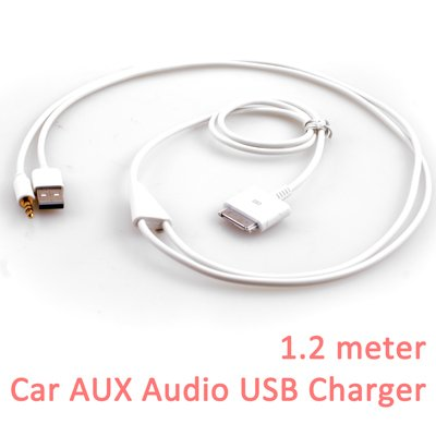 GMYLE(TM) 3.5mm Car AUX Audio Data USB Charger Adapter for Apple iPhone 3G 3GS 4G 4S/iPad 1 2 /iPod connector devices White