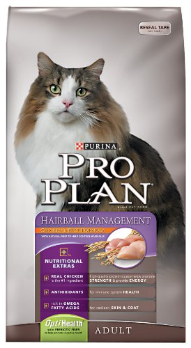 Image of Purina Pro Plan Dry Adult Cat Food (Hairball Management), Chicken and Rice Formula, 16-Pound Bag