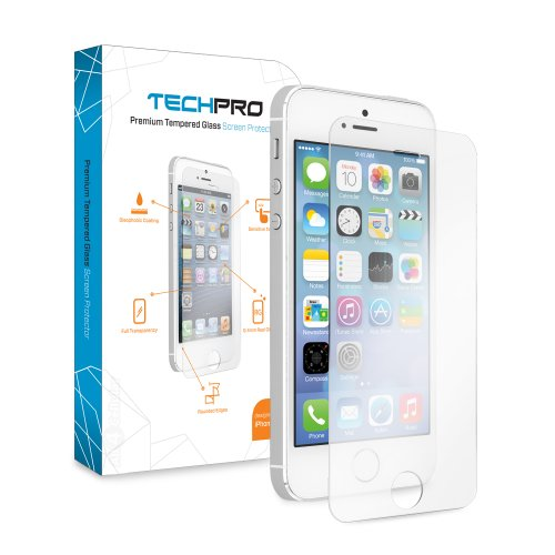 Techpro Iphone 5/5S Premium Shatterproof Crystalline Tempered Glass Screen Protection - 8-9H Hardness. 0.4Mm Thin. Rounded Edges. [1 Pack - Retail Packaging]