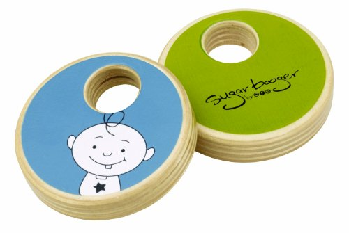SugarBooger Wooden Shaker Baby Rattle, Blue and Green