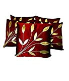 ShwetaInternational Leaves Patch Maroon Cushion Covers (12X12 Inches) Set Of 5