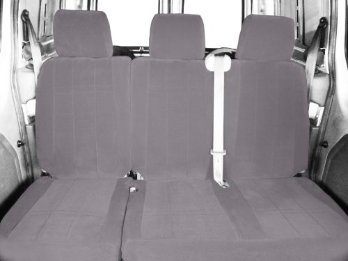 CalTrend Rear Row 60/40 Split Bench Custom Fit Seat Cover for Select Chevrolet Equinox Models - O.E. Velour (Light Grey Classic Insert and Trim)