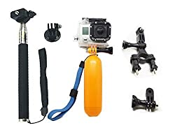 AFUNTA 3in1 For GoPro Accessories Bundle Kit Ultimate Combo GoPro Hero 4 Hero 3+ Hero 3 Hero 2 Digital Camera, Black Extendable Telescopic Handheld Pole / Arm Monopod / Stick Monopod Pod with Tripod Mount Adapter + Orange Flo