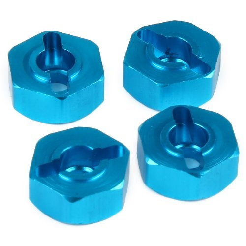 DN 02134B 122.042 lega di alluminio ruota esagonali dei pezzi di ricambio RC HSP 1:10 Model Car Blu (confezione da 4)