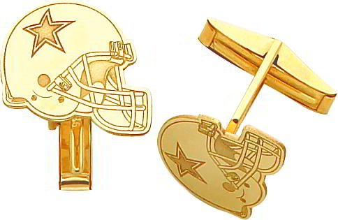 14K Gold NFL Dallas Cowboys Football Helmet Cuff Links
