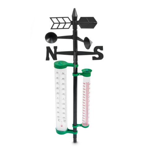 Wetterstation Garten Thermometer mit 4 Funktionen 150 cm Kunststoff