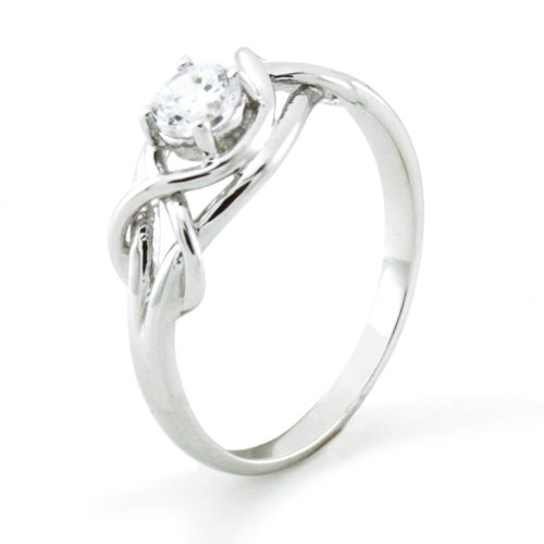 Sterling Silver Twisted Promise Infinity Knot Cubic Zirconia Ring (Size 9) Available Size: 5, 5.5, 6, 6.5, 7, 7.5, 8, 8.5, 9