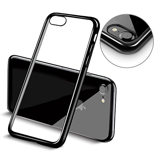 iPhone 7 Funda, Mture Apple iPhone 7 Transparente Funda Carcasa Case Bumper Delgado Enchapado TPU Funda Cover anti golpes Anti-Arañazos Para iPhone 7 (Jet Negro)