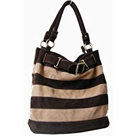 Suede Feel Striped Hobo/Handbag - 4 cool colors available - Free Shipping