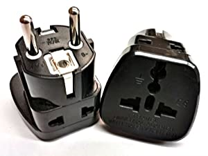 Tmvel 2 In 1 High Quality Universal Travel AC Power Plug Adapter With Safety Shutter (Schuko, Type E/F) for Germany, France, Europe, Russia & more - DUAL PLUG-IN PORTS, WORKS AS TWO-ADAPTERS-IN-ONE - works with Dual Voltage Electronics, Cell Phone, Smartphone, Iphone , Laptop, Tablet, Ipad Charger & Appliances that are 110-220 Volts - CE Certified - RoHS Compliant