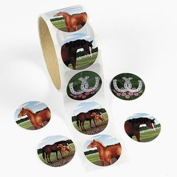 "Fun Express - 100 Horse Stickers, 1 Roll, 1 1/2"", Assorted Designs"