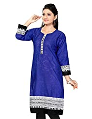 Meher Womens Cotton A-Line Kurta (K03-54-$P _Royal Blue _4)