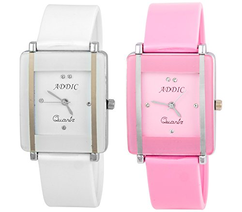 Addic Combo Of Two Watches Rectangular Kawa Baby Pink And White Dial Watch for Women