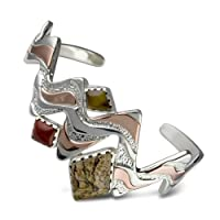 Southwest Spirit Mixed Metal Multi Gemstone Cuff Bracelet by Relios Jewelry