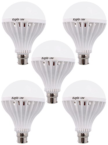 Kapis 18W B22 LED Bulb (White, Pack Of 5)