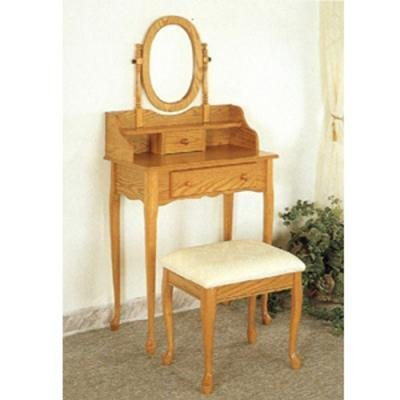 Queen Anne Style Oak Finish Wood Vanity Table Stool/Bench & Mirror Set