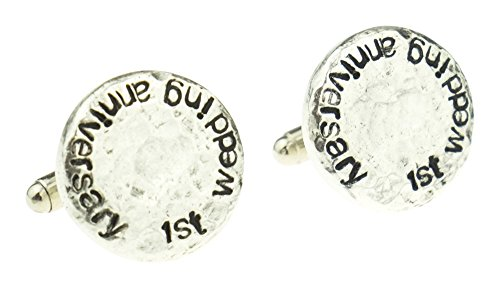 1st-Wedding-Anniversary-Hammered-Cuff-links-for-Husband-1st-Anniversary-Gift-Idea-Keepsake