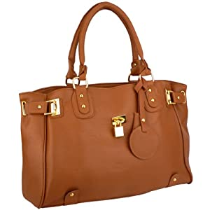 MG Collection LUCCA Brown Glamour Padlock Shopper Hobo Handbag w/Shoulder Strap