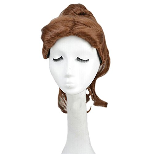 Angelaicos Women's Ponytail Halloween Curly Costume Cosplay Wig Medium Brown