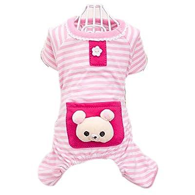 Urparcel Small Pet Dog Stripes Pajamas Coat Cat Puppy Clothes Apparel Clothing