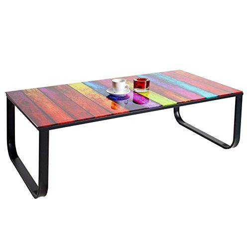 Stylischer-Couchtisch-RAINBOW-105-cm-bunter-Glastisch-Tisch-mit-Glasplatte