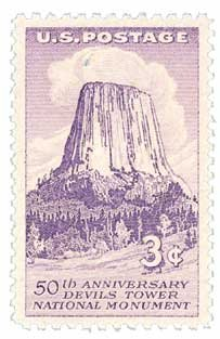 #1084 - 1956 3c Devils Tower Postage Stamp Numbered Plate Block (4)