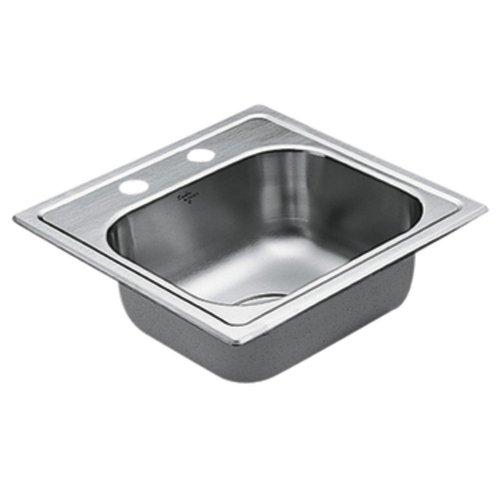 Moen G224562 2200 Series 22 Gauge Single Bowl Drop In Sink, Stainless Steel