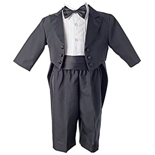 Lauren Madison baby boy Infant Christening Baptism Tuxedo With Tails, Black, 0-3 Months