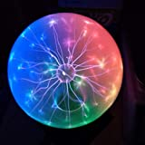 Pelddy Touch Sound Sensitive Glass Plasma Ball Lamp Crystal Three Color Globe Design (8 inches) (Tamaño: 8 inches)