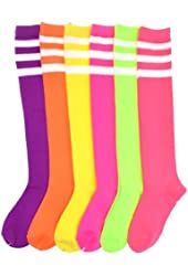 Angelina cotton REFEREE Knee High Socks, Bright Colors with White Stripes