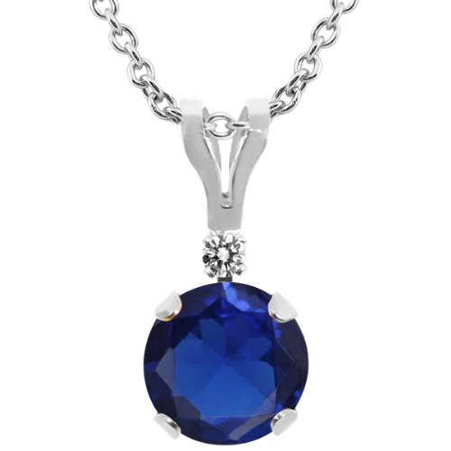 1.02 Ct Round Blue Created Sapphire White Diamond 14K White Gold Pendant