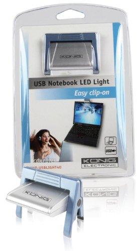 Konig CMP-USBLIGHT40 Luce LED per Notebook Clip-On, Argento