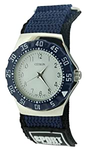 Citron Gents White Dial Citron Watch With Blue Bezel And Strap