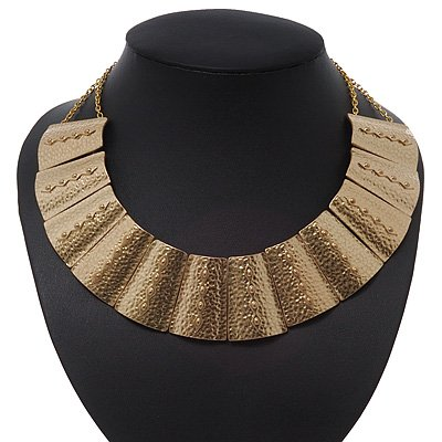 Egyptian Style Hammered Collar Necklace In Gold Plating - 38cm Length/ 5cm Extension
