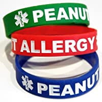 3-pack of Toddler Size Peanut Allergy Medical Alert Silicone Bands 6 Inch White Lettering by Medical Alert Bands