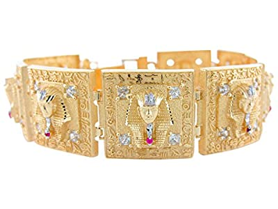 10k Two-Tone Gold CZ Accented King Tut Egyptian Bracelet with Hieroglyphs