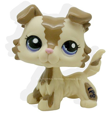 RARE Littlest Pet Shop Brown Collie Dog Puppy Blue Eyes Figure Puggy LPS #2210 (Lps Bulldog Puppy compare prices)