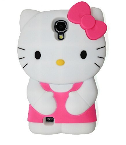 Samsung Galaxy S4 Case,Anya 3D Cute Bow Superhero Series Style Cartoon Soft Rubber Silicone Back Shell Cases Cover Skin for Samsung Galaxy SIv S iv S4 i9500 Hello Kitty Hot Pink (Samsung Galaxy S4 Ford Case compare prices)
