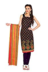Parchayee Women's Cotton Dress Material (Printed_Black_Free Size)