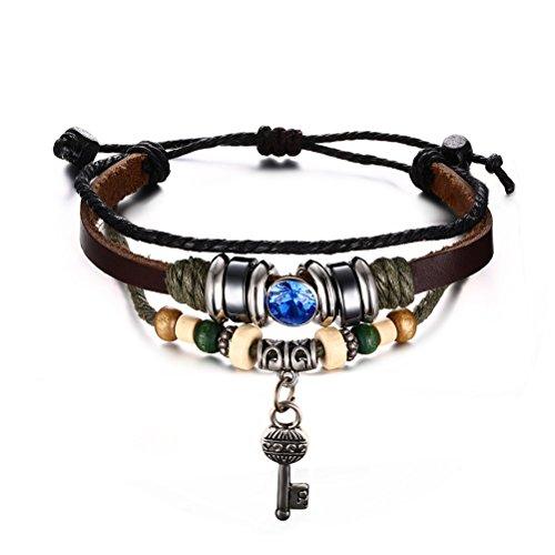Chiave in legno, corda e perline in ematite, in vera pelle, con zirconia cubica blu, lunghezza regolabile