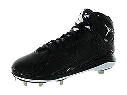 Nike Men\'s Air Jordan 7 Retro Metal Black/White Baseball Cleat 11 Men US