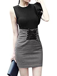 Woman Flouncing Upper Top w Self Lace-up Front Mini Skirt