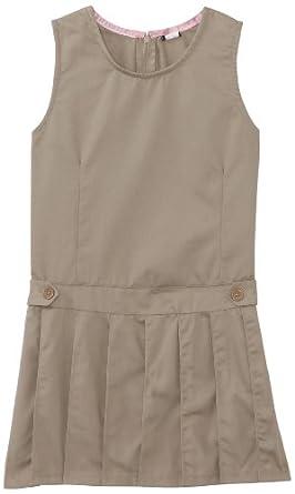 U.S. Polo Association School Uniform Big Girls'  Twill Jumper with Pleated Bottom, Khaki, 10