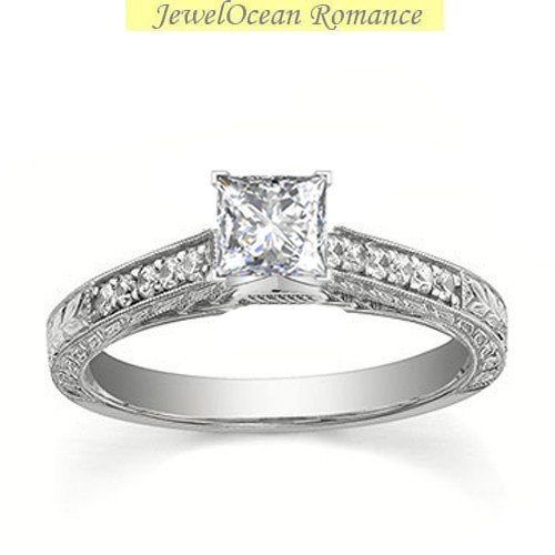 0.58 Carat Antique Discount Diamond Engagement Ring with Princess cut Diamond on 18K White gold