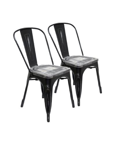 Aeon Furniture Set of 2 Garvin Chairs, Black/Wood