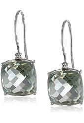 10k Diamond Cushion Cut Shepard Hook Earrings