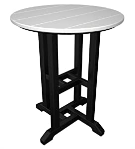 POLYWOOD RT224FBLWH Contempo 24-Inch Round Dining Table, Black Frame, White