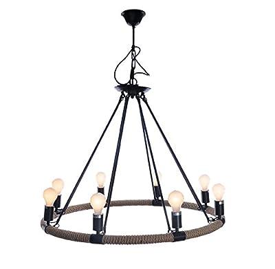 "Nautical Rope Pendant Hanging Lamp Chandelier Lighting 37"" Eight Bulbs"